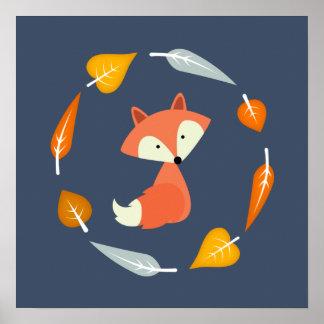 Autumn Baby Fox Poster