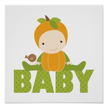 heartlocked Autumn Baby Shower Sign Poster