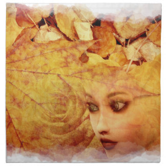Autumn background and girl napkin