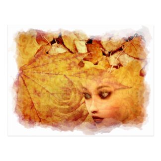 Autumn background and girl postcard
