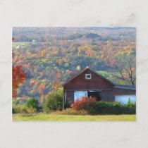 Autumn Barn and Hills Postcard
