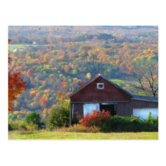 Autumn Barn and Hills Postcard