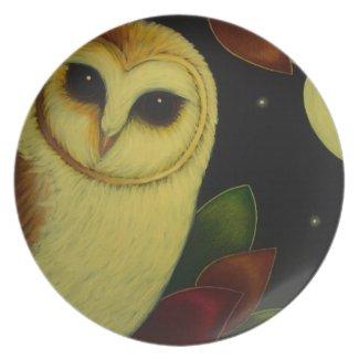 AUTUMN BARN OWL Melamine Plate