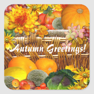 Autumn Basket ~ Envelope Seal/sticker Square Sticker
