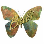 """Autumn Batik Butterfly Magnet<br><div class=""""desc"""">Photo sculpture magnet of a blue, green, rust, and gold autumn batik butterfly with """"Bali"""" is printed across it in gold script. Stick this magnet on your refrigerator for a small Bali Retreat party prop or give as a party favor. See the entire Bali Retreat Magnet collection in the SPECIAL...</div>"""