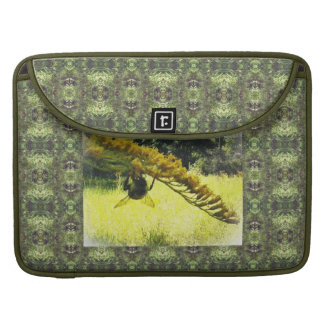 Autumn Bee Goldenrod Botanical Green Pattern Sleeve For MacBooks