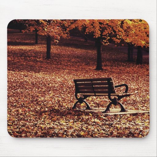 autumn bench in the park mousepad