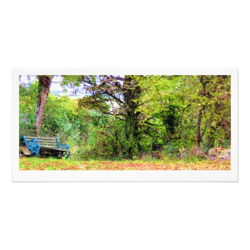 autumn bench photocard picture card