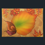 """Autumn Berries Placemat<br><div class=""""desc"""">An autumnal place mat with ripening berries,  color changing leaves and a cute butterfly.</div>"""