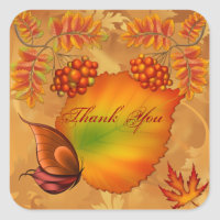 Autumn Berries Thank You Square Sticker