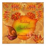 "Autumn Berries Wedding Invitation Card 5.25"" Square Invitation Card"