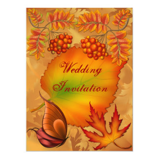 "Autumn Berries Wedding  Invitation Card 6.5"" X 8.75"" Invitation Card"