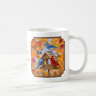 Autumn Bird Feeder Gathering Coffee Mug