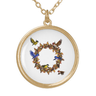 Autumn Birds Gold Plated Necklace
