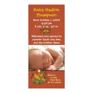 "Autumn Birth Announcement 4"" X 9.25"" Invitation Card"