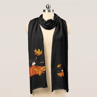 Autumn Black Cat with Pumpkin and Fall Leaves Scarf