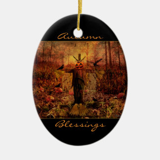 Autumn Blessings Scarecrow Oval Ornament