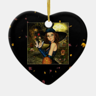 Autumn Blessings Witch Ceramic Heart Ornament
