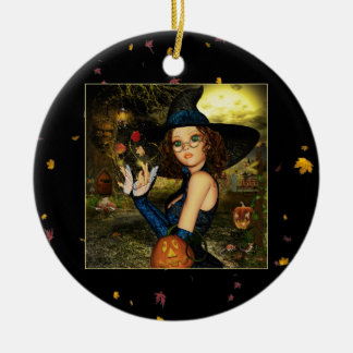 Autumn Blessings Witch Round Ceramic Ornament