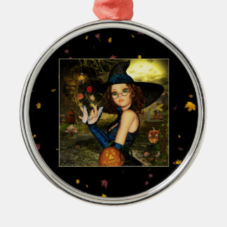 Autumn Blessings Witch Round Silver Ornament