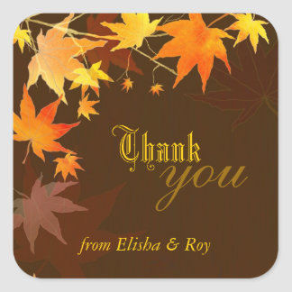 Autumn Bliss Maple Tree Wedding Thank You Square Sticker