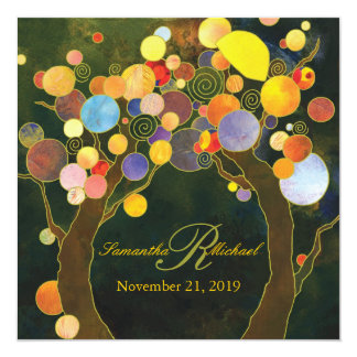 Autumn Bliss Tree Theme Monogram Wedding Card