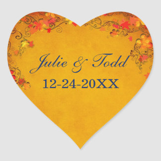 Autumn Bliss Wedding Save The Date Heart Sticker