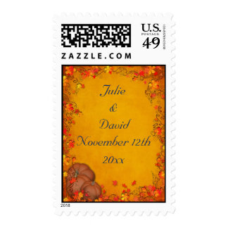 Autumn Bliss Wedding Save The Date Postage Stamps