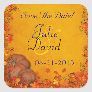 Autumn Bliss Wedding Save The Date Square Stickers