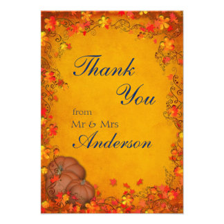 Autumn Bliss Wedding Thank You Personalized Announcement