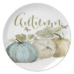 Autumn Blue Pumpkin Dinner Plate