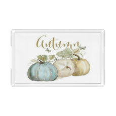 Autumn Blue Pumpkin Large Serving Tray