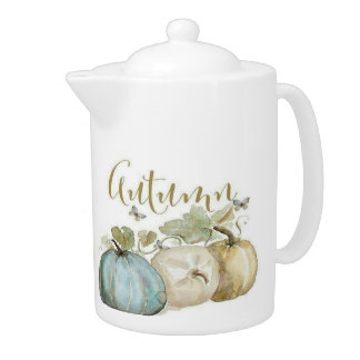 Autumn Blue Pumpkin Medium Tea Pot