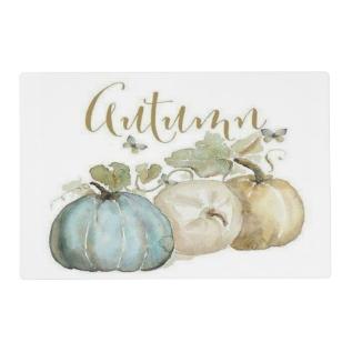 Autumn Blue Pumpkin Place Mat at Zazzle