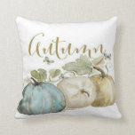 "Autumn Blue Pumpkin Throw Pillow<br><div class=""desc"">Beautiful watercolor pumpkins in shades of soft blue, green, gold and brown on a white background are featured on this throw pillow. The word &quot;Autumn&quot; is written out across the top of the pillow, front and back. Coordinates with the other designs in the Autumn Blue Pumpkin Collection from Vintage Mama&#39;s...</div>"