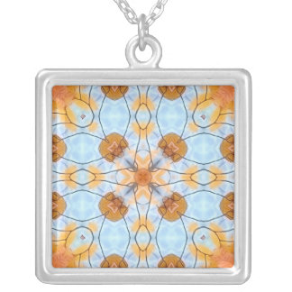 Autumn Blues & Golds Square Pendant Necklace