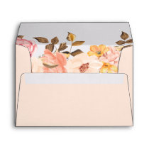 Autumn Blush Peach Gold Watercolor Floral 5x7 Envelope