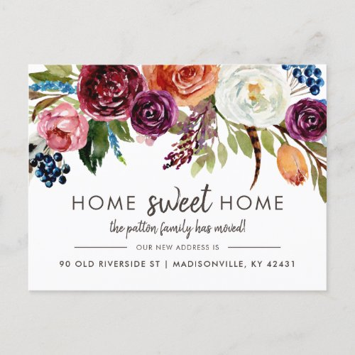 Autumn Boho Blooms New Address Moving Announcement