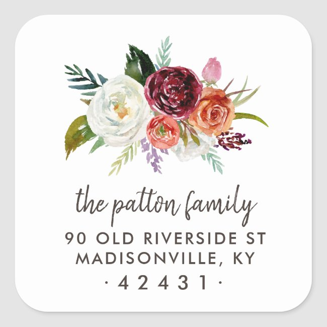 Autumn Boho Blooms Return Address Label