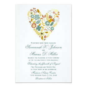 Autumn Boho Floral Heart Fall Wedding Invitations