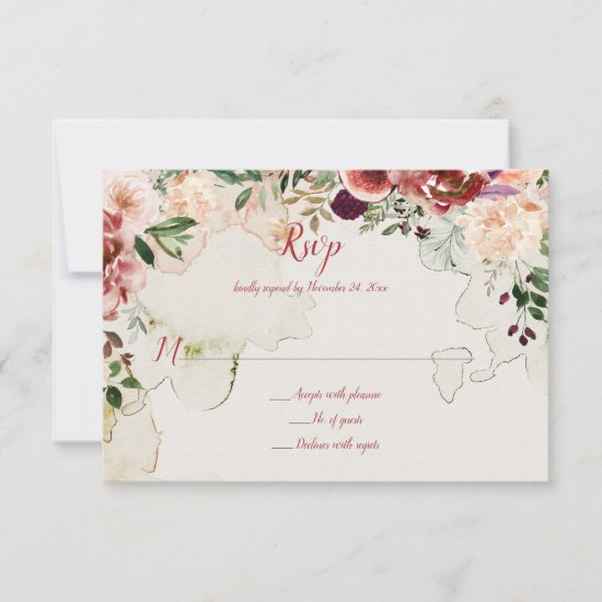 Autumn Boho Watercolor Floral Tea-Stained RSVP