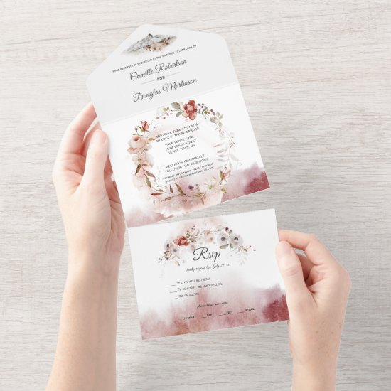 Autumn Boho Watercolor Floral Wedding   All In One Invitation