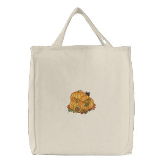 Autumn Bounty Embroidered Tote Bag