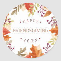 Autumn Bounty | Happy Friendsgiving Classic Round Sticker