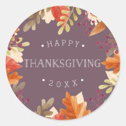 Autumn Bounty   Happy Thanksgiving Classic Round Sticker