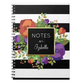 Autumn Bouquet & Chic Stripes Custom Name Spiral Notebook