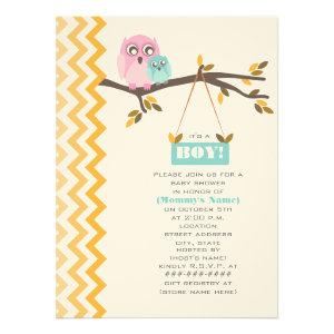Autumn Boy Baby Shower Mommy & Baby Owl Invitations