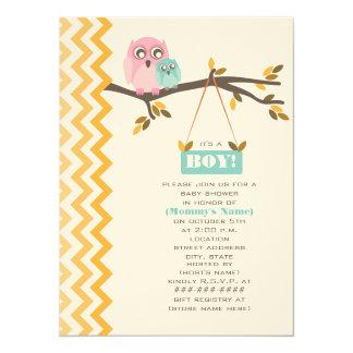 "Autumn Boy Baby Shower Mommy & Baby Owl 5.5"" X 7.5"" Invitation Card"