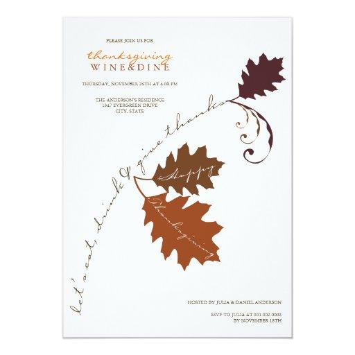 Autumn Branch Thanksgiving Dinner Party Invitation