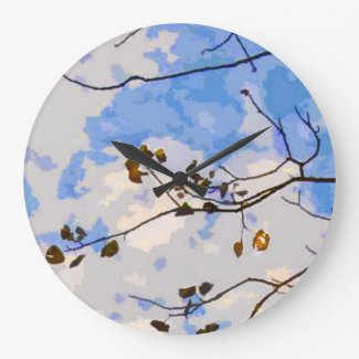 Autumn Branches Abstract Wall Clock